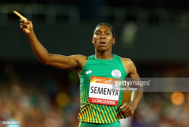 Caster Semenya of South Africa celebrates wins gold in the Women's 800 metres final during athletics on day nine of the Gold Coast 2018 Commonwealth...
