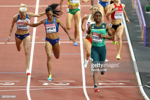 Caster Semenya of South Africa Charlene Lipsey of the United States and Lynsey Sharp of Great Britain compete in the Women's 800 metres semi finals...