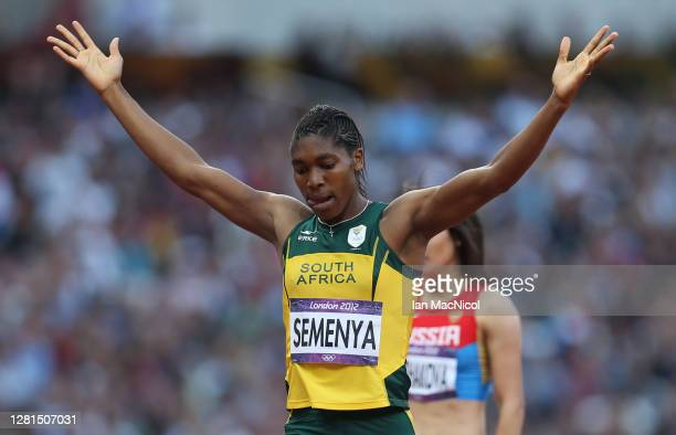 Caster Semenya of South Africa competes in the heats of the women's 800m, during the 2012 London Olympics at The Olympic Stadium on August 09, 2012...