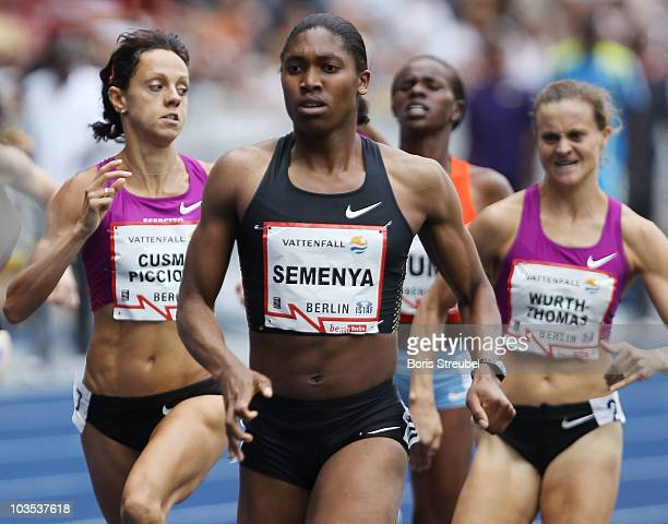 Caster Semenya of South Africa competes in the women's 800m during the IAAF World Challenge ISTAF 2010 at the Olympic Stadium on August 22, 2010 in...