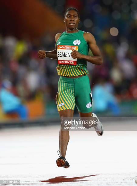 Caster Semenya of South Africa crosses the line to win gold in the Women's 1500 metres final during the Athletics on day six of the Gold Coast 2018...