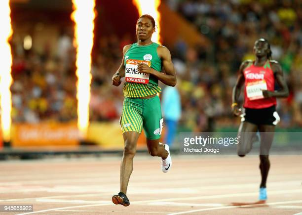Caster Semenya of South Africa crosses the line to win gold in the Women's 800 metres final during athletics on day nine of the Gold Coast 2018...