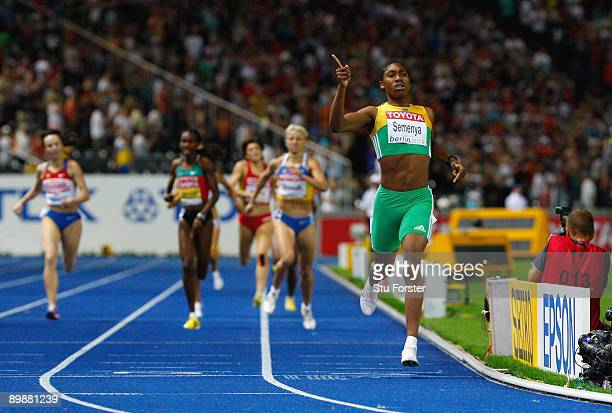 Caster Semenya of South Africa crosses the line to win the gold medal in the women's 800 Metres Final during day five of the 12th IAAF World...