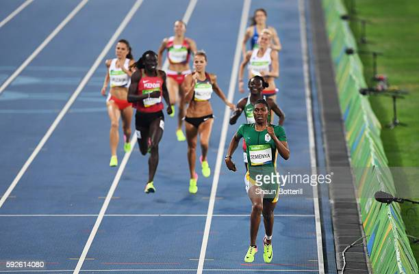 Caster Semenya of South Africa leads the field during the Women's 800m Final on Day 15 of the Rio 2016 Olympic Games at the Olympic Stadium on August...