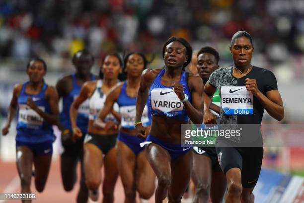 Caster Semenya of South Africa leads the pack ahead of Noele Yarigo of Benin in the Women's 800 metres during the IAAF Diamond League event at the...