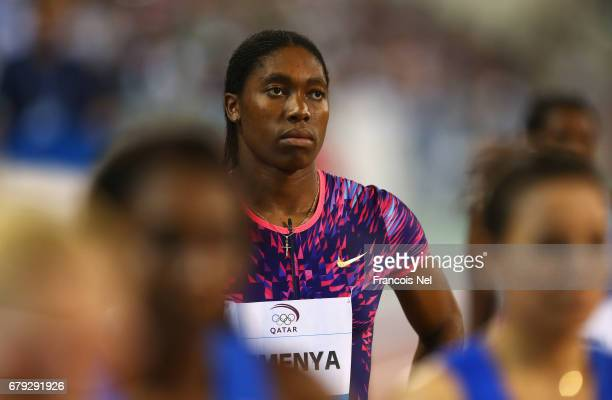 Caster Semenya of South Africa looks on prior to the start of the Women's 800 metres during the Doha IAAF Diamond League 2017 at the Qatar Sports...