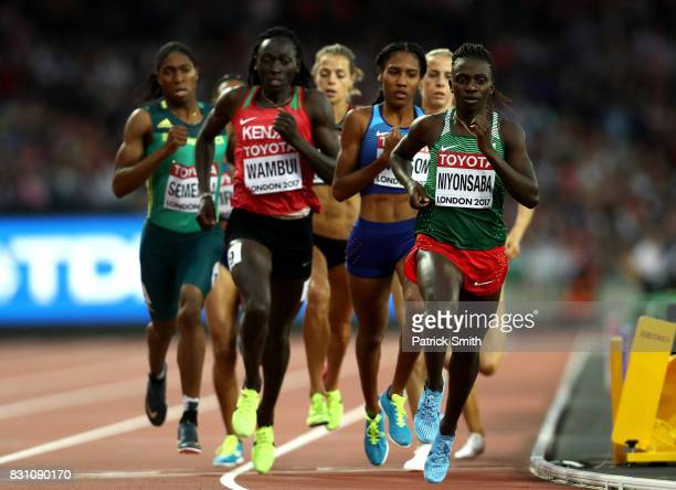 Caster Semenya of South Africa Margaret Nyairera Wambui of Kenya and Francine Niyonsaba of Burundi compete in the Womens 800 metres final during day...