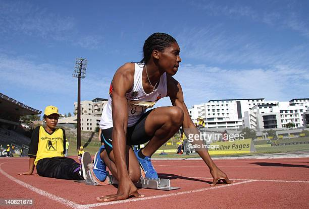 Caster Semenya of South Africa prepares before the start of the women's 400m during the Yellow Pages Interprovincial final from Bellville Athletics...