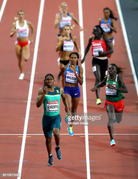 Caster Semenya of South Africa races clear to win the Womens 800 metres during day ten of the 16th IAAF World Athletics Championships London 2017 at...