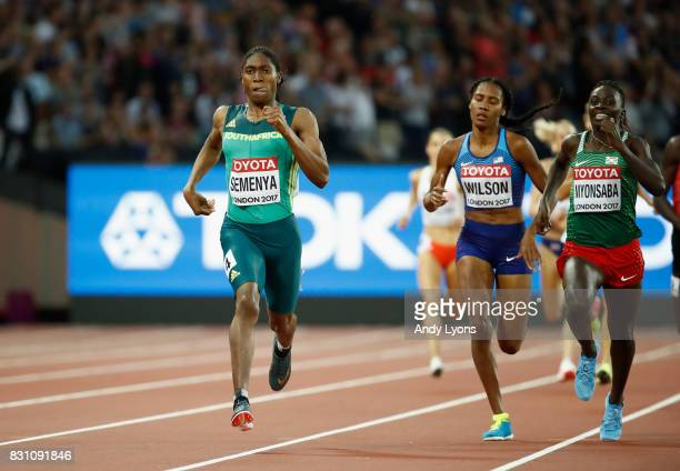 Caster Semenya of South Africa races clear to win the Womens 800 metres final ahead of Ajee Wilson of United States and Francine Niyonsaba of Burundi...