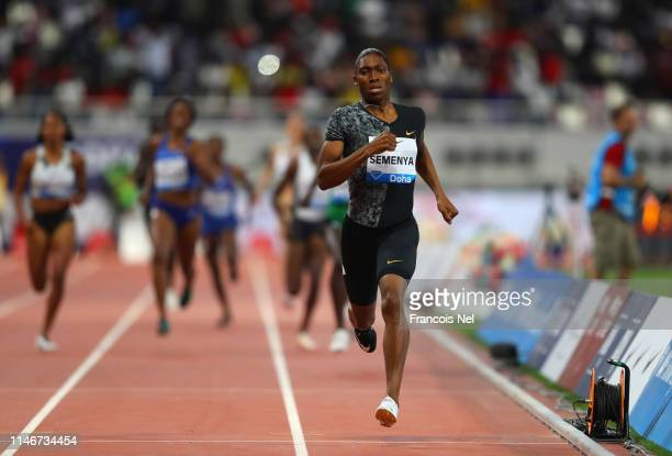 Caster Semenya of South Africa races to the line to win the Women's 800 metres during the IAAF Diamond League event at the Khalifa International...