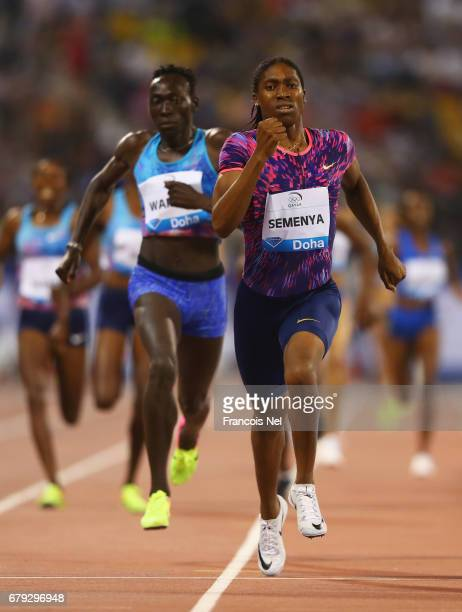 Caster Semenya of South Africa races to the line to win the Women's 800 metres ahead of Margaret Nyairera Wambui of Kenya during the Doha IAAF...