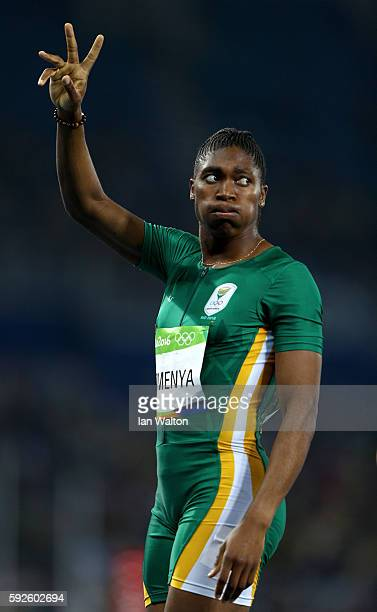 Caster Semenya of South Africa reacts after winning the Women's 800 meter Final on Day 15 of the Rio 2016 Olympic Games at the Olympic Stadium on...