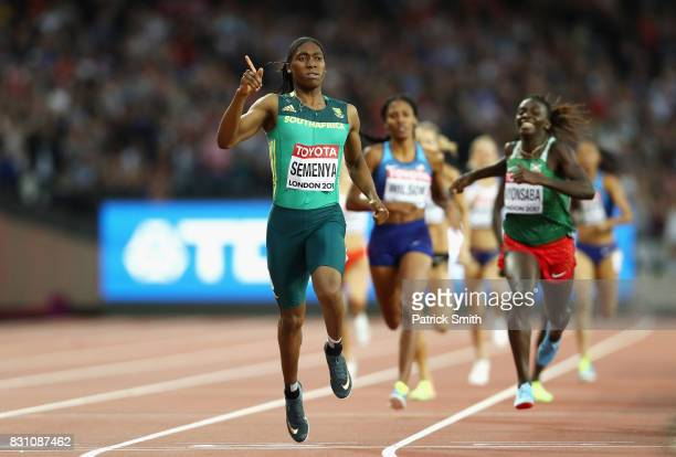 Caster Semenya of South Africa reacts as she crosses the finishline to win the Women's 800 Metres final during day ten of the 16th IAAF World...