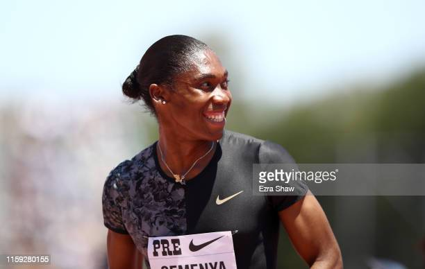 Caster Semenya of South Africa smiles after winning the women's 800m during the Prefontaine Classic at Cobb Track & Angell Field on June 30, 2019 in...