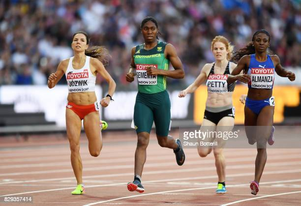 Caster Semenya of South Africa wins heat three from Rose Mary Almanza of Cuba and Joanna Jozwik of Poland during the womens 800 metres during day...