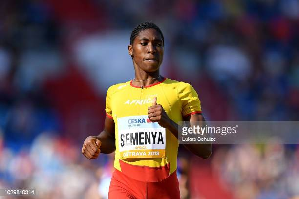 Caster Semenya of Team Africa celebrates victory following the Womens 800 Metres during day two of the IAAF Continental Cup at Mestsky Stadium on...