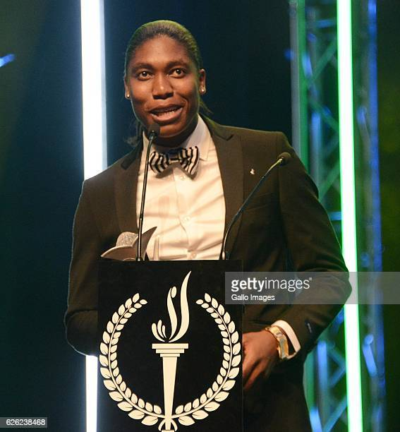 Caster Semenya receives her award during the SA Sports Awards on November 27 2016 in Bloemfontein South Africa The 2016 SA Sport Awards recognise...