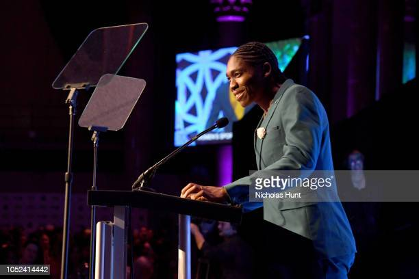 Caster Semenya speaks on stage during The Women's Sports Foundation's 39th Annual Salute To Women In Sports And The Girls They Inspire Awards Gala on...