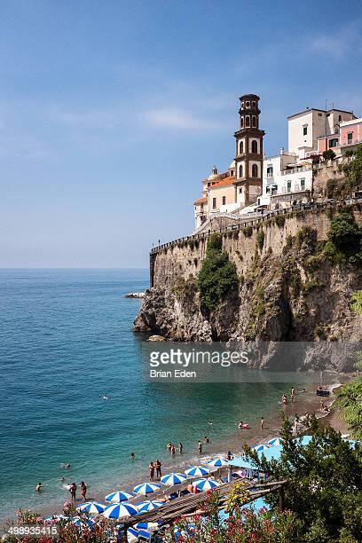 Castiglione Beach and the cliff top town of Atrani on the Amalfi Coast.