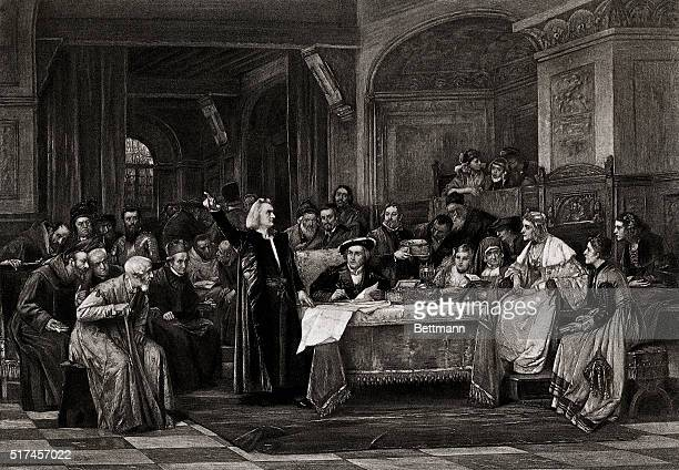 Christopher Columbus appeals to King Ferdinand and Queen Isabella to finance his trip to the New World Undated illustration
