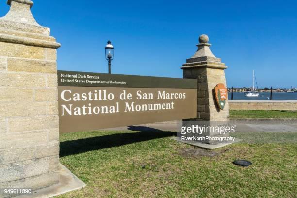 castillo de san marcos national monument - castillo de san marcos stock photos and pictures
