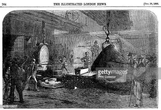 Casting a mortar at Grissell's Regent's Canal Ironworks City Road London 1855 A Nasmyth safety ladle is being used From The Illustrated London News...