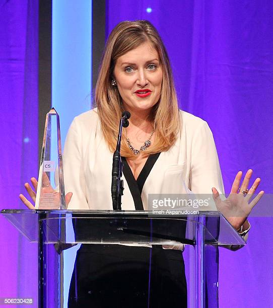 Casting director Angela Demo speaks onstage during the Casting Society Of America's 31st Annual Artios Awards at The Beverly Hilton Hotel on January...