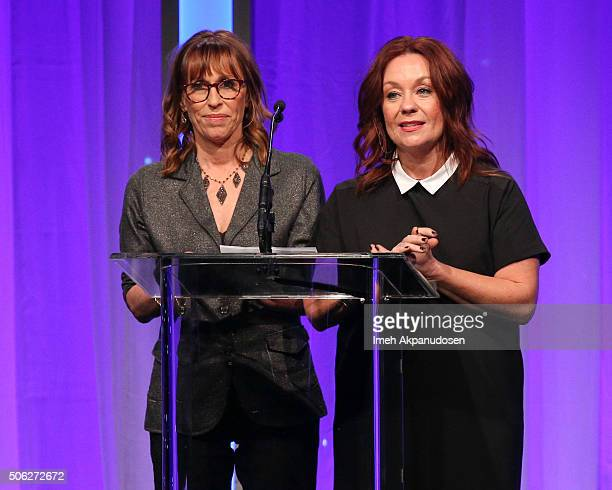 Casting directors Sharon Bialy and Sherry Thomas speak onstage during the Casting Society Of America's 31st Annual Artios Awards at The Beverly...