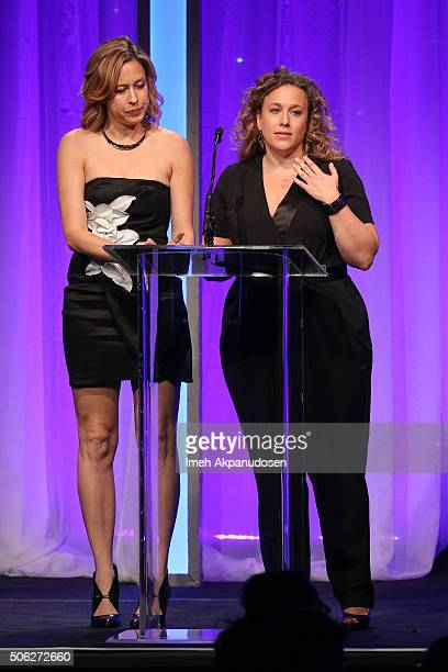 Casting directors Sunday Boling and Meg Morman speak onstage during the Casting Society Of America's 31st Annual Artios Awards at The Beverly Hilton...