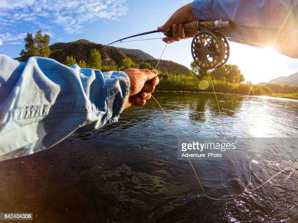 Casting on River Fly Fishing