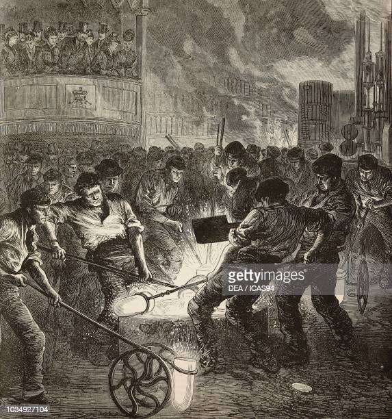 Casting steel ingots at Firth and Sons' factory Sheffield United Kingdom engraving from The Illustrated London News No 1881 August 28 1875
