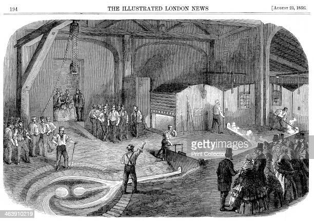 Casting the bell for the Westminster Clock Tower, 1856. Tapping furnaces at Warner & Sons' Barrett Furnaces, Stockton-on-Tees, England. From The...