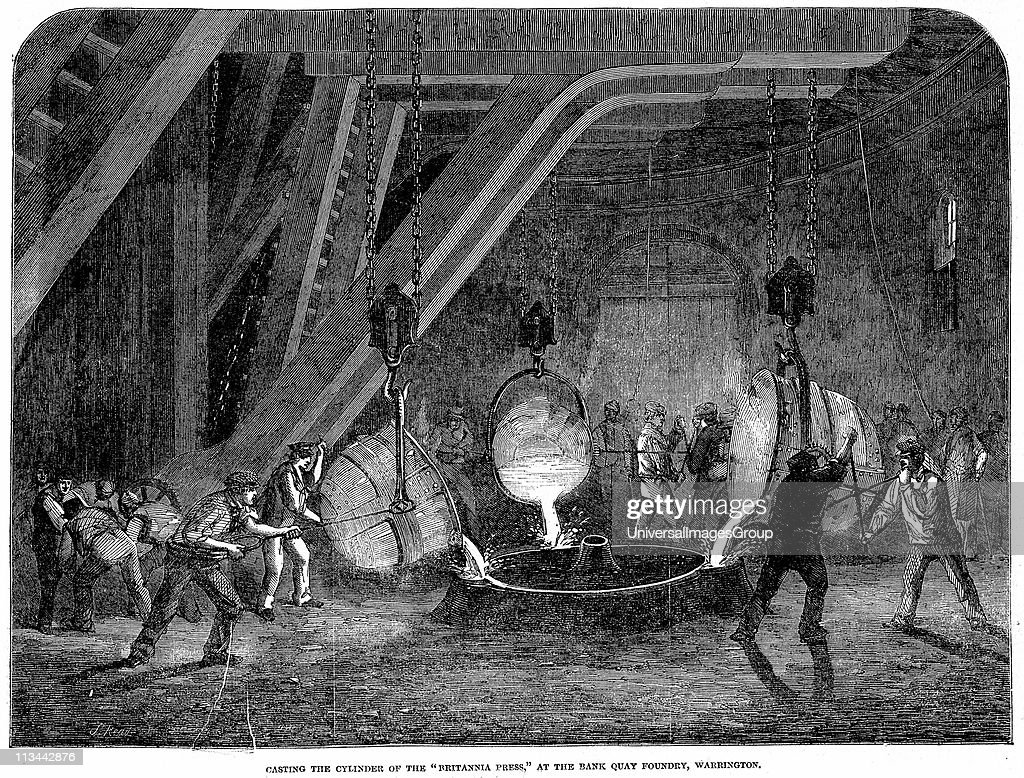 Casting the cylinders for the hydraulic press (lift) used to raise the prefabricated sections of the Britannia Tubular Bridge across the Menai Straits, Wales. Nasmyth safety ladles (1838) being used Wood engraving, 1851... : News Photo