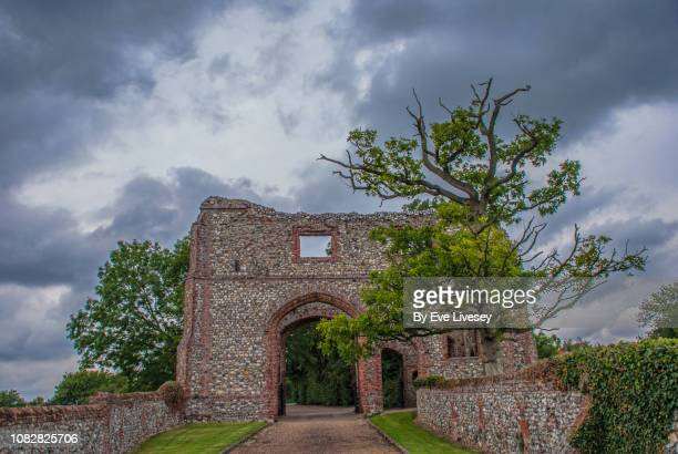 castle acre castle gate - chert stock photos and pictures