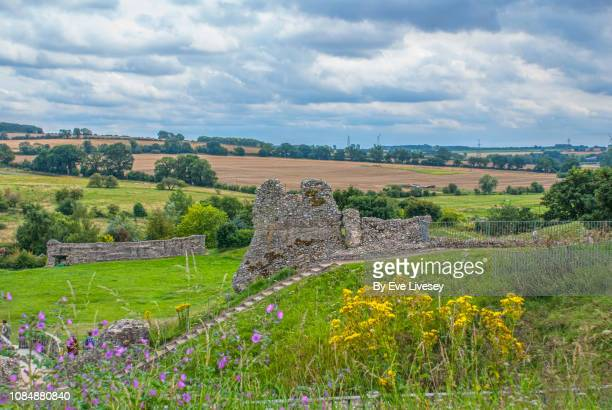 castle acre castle wall remains - chert stock photos and pictures