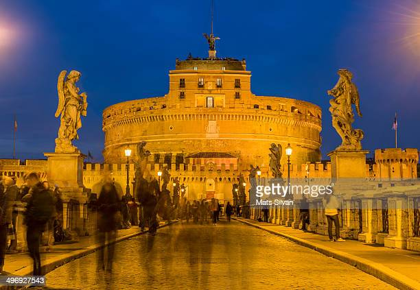 Castle and bridge Sant'Angelo in blue hour in Rome Italy