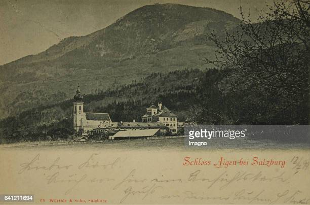 Castle and Church Aigen near Salzburg 1899 Colltype Photograph and publishing by Würthle Sohn / Salzburg