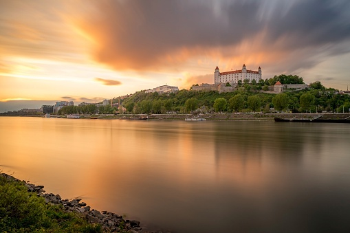 Castle and river at sunset, Bratislava, Slovakia - gettyimageskorea