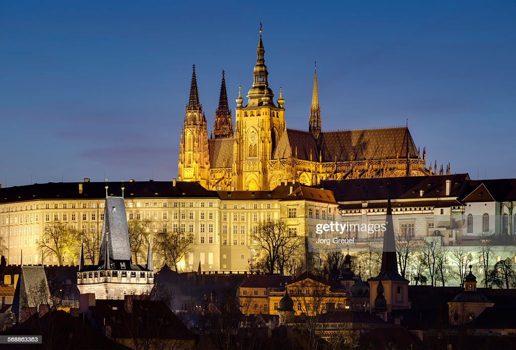 Castle and St. Vitus Cathedral : Stock Photo