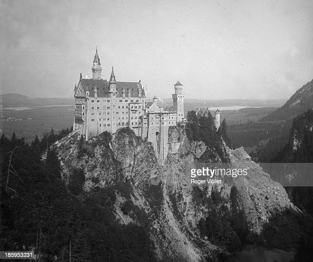 Castle built by King Ludwig II of Bavaria Neuschwanstein circa 1890 Detail of a stereoscopic view