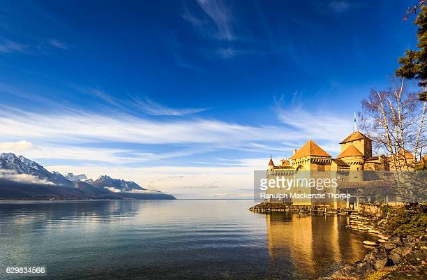 castle by a lake - montreux stock pictures, royalty-free photos & images