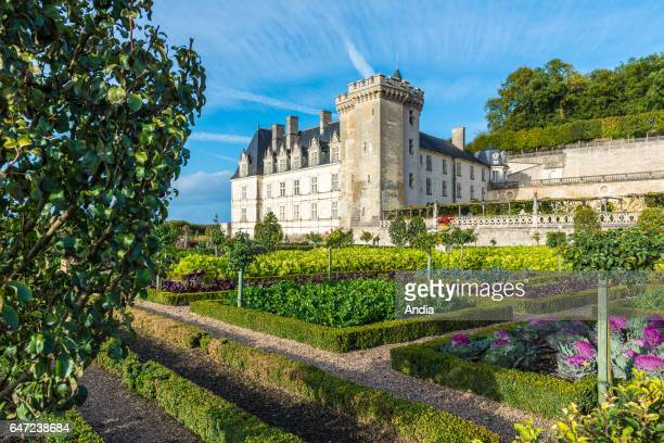 """Castle """"chateau de Villandry"""" and its vegetable garden. Renaissance style chateau classified as a historical site First castle with the """"Refuge LPO""""..."""