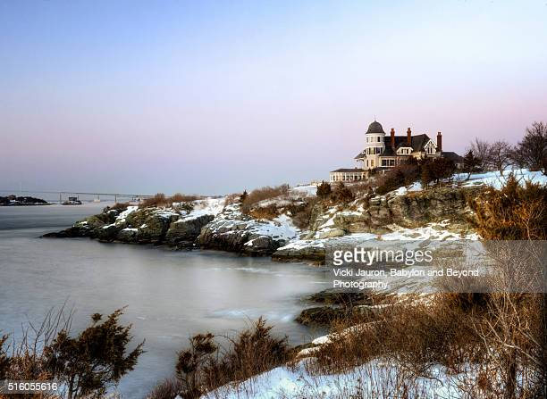 castle hill inn along the snow covered shore, newport rhode island - newport rhode island stock pictures, royalty-free photos & images