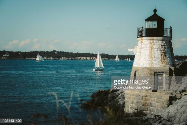 castle hill lighthouse in rhode island - rhode island stock pictures, royalty-free photos & images