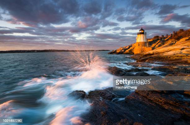 castle hill lighthouse landscape at sunset - new england usa stock pictures, royalty-free photos & images