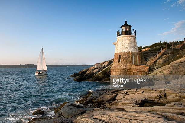 castle hill lighthouse, newport rhode island - newport rhode island stock pictures, royalty-free photos & images