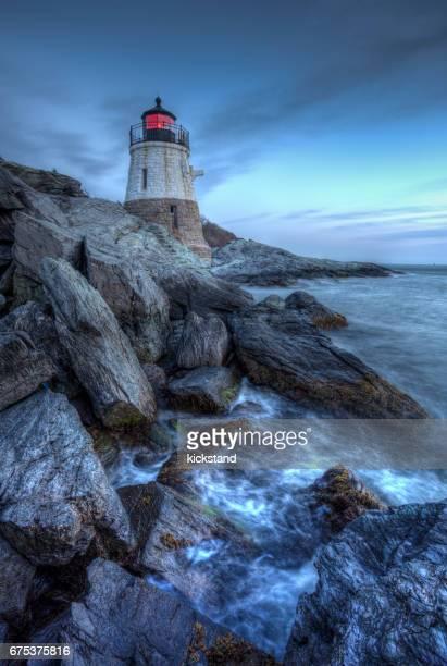 castle hill lighthouse, newport, rhode island - newport rhode island stock photos and pictures