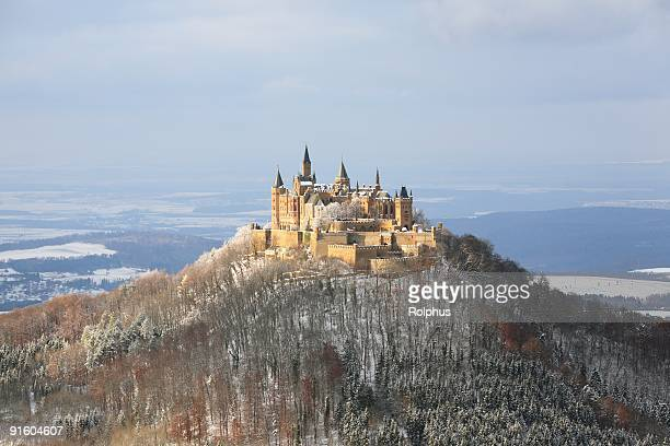 castle hohenzollern wintertime top - castle stock pictures, royalty-free photos & images