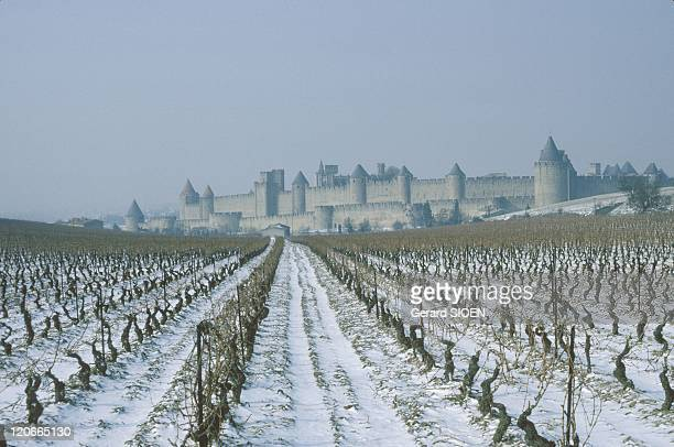 Castle in the snow in Carcassonne France